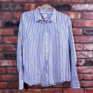 J. Crew Striped Perfect Button-Up Shirt